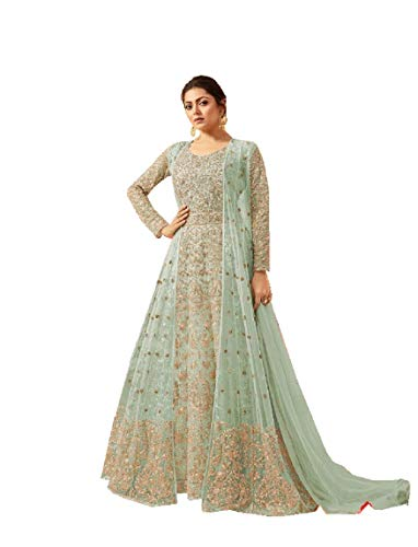 Delisa Indian/Pakistani Bollywood Party Wear Long Anarkali Gown for Womens LT New (Light Green, LARGE-42)