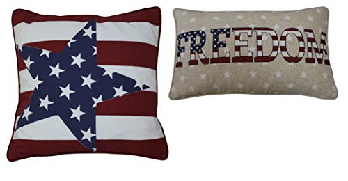 - Fantasy Home Pack of 2 The Star-Spangled Banner Accent Throw Pillow Case Cushion Cover, Metallic Printed Freedom USA Linen Cotton Decorative Throw Pillow Case (Old Glory-Freedom USA)