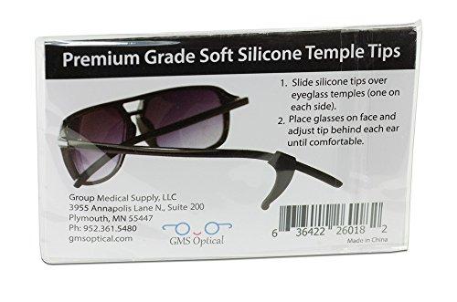 GMS Optical® Premium Grade Silicone Temple Tips For Eyeglasses (1 pair, Black)