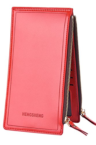 Women's RFID Blocking Leather Multi Card Organizer Thin Wallet with Zipper Pocket (Double row zipper - (Red Double Row)