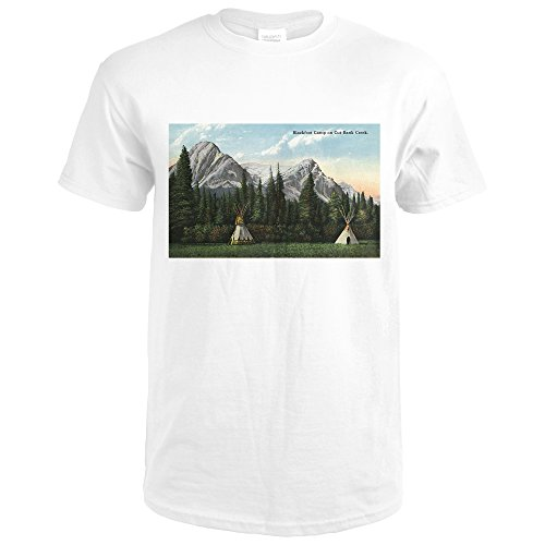 Glacier National Park  Montana   View Of A Blackfoot Camp On Cut Bank Creek  Premium White T Shirt Xx Large