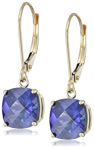 (10k Yellow Gold Cushion-Cut Checkerboard Created Sapphire Leverback Earrings (8mm))