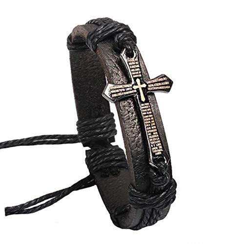 (Asatr Unisex Faux Leather Woven Rope Cross Bracelets)