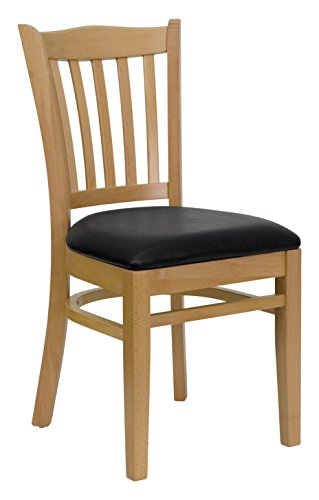 Flash Furniture 2 Pk. HERCULES Series Vertical Slat Back Natural Wood Restaurant Chair - Black Vinyl - Chair Slat Upholstered Back