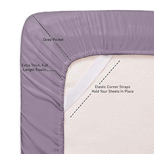 1500 Supreme Collection Bed Sheet Set - Extra Soft, Elastic Corner Straps, Deep Pockets, Wrinkle & Fade Resistant Hypoallergenic Sheets Set, Luxury Hotel Bedding, Full, Plum