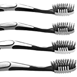 Trueocity Soft Charcoal Toothbrush (4 Pack - 2 White & 2 Gray) Fine & Gentle CrossAction Flossing Bristles Helps Prevent Gingivitis & Perio-2 in 1 Tooth Brush & Tongue Scraper for a Complete Cleaning
