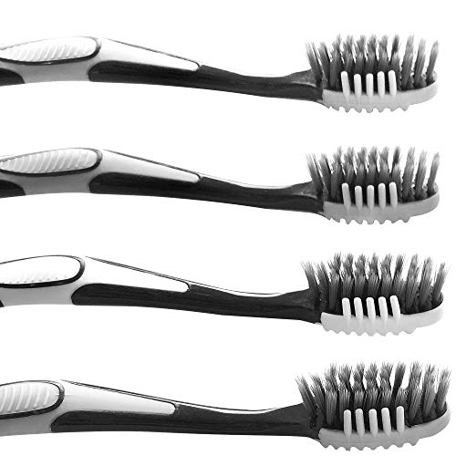 Trueocity Soft Charcoal Toothbrush (4 Pack – 2 White & 2 Gray) Fine & Gentle CrossAction Flossing Bristles Helps Prevent Gingivitis & Perio-2 in 1 Tooth Brush & Tongue Scraper for a Complete Cleaning