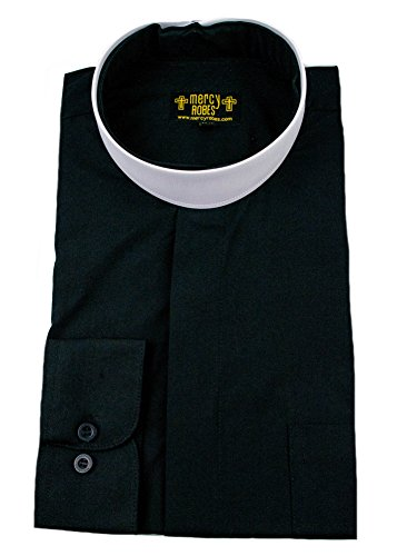 Mercy Robes Mens Black Long Sleeve Standard Cuff Full Neckband Collar Clergy Shirt