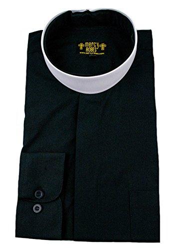 Mercy Robes Mens Black Long Sleeve Standard Cuff Full Neckband Collar Clergy Shirt (18