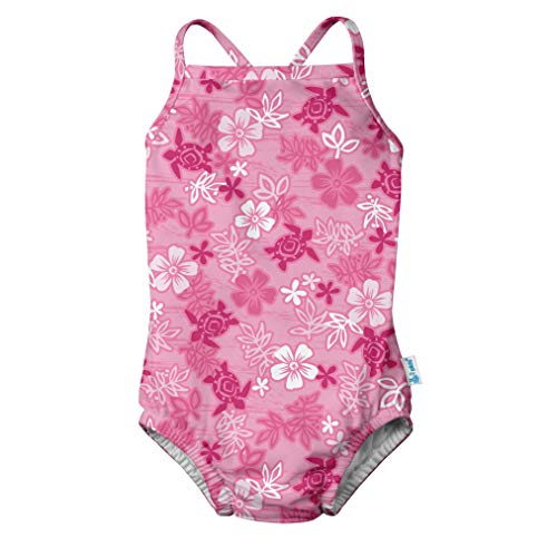 i play. Baby Girls One-Piece Swimsuit with Built-in Reusable Swim Diaper, Pink Hawaiian Turtle, 6mo -
