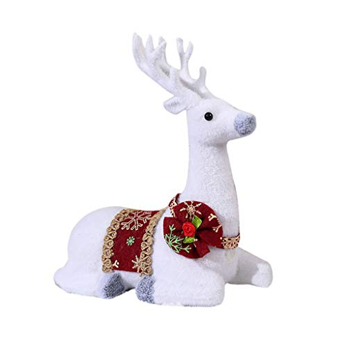 Nesee Christmas Simulation White Deer Home Decoration Elk Doll Animal Model Children's Gifts Desktop Decor for Yard, Garden, Xmas Trees, New Year Thanksgiving Party Supplies (Best Way To Wear A Beard)