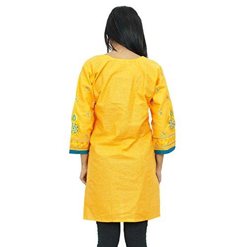 Algodón bordado Kurta completa mangas de la túnica del Hippie Ropa Mujeres Casual Wear Kurti Amarillo