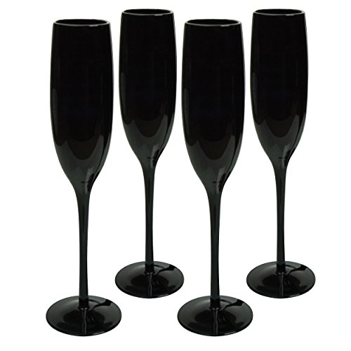 Artland 6 oz Midnight Black Flute Glasses, Set of 4