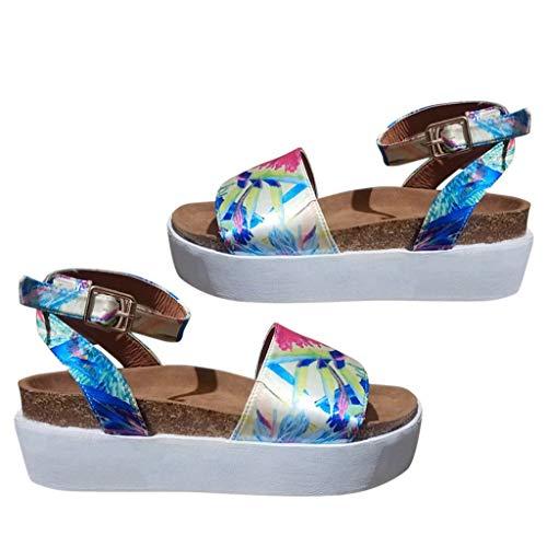 (DDKK sandals Hot Women's Open Toe Ankle Strap Sandal-Espadrille Platform Strappy Chunky Wedges Sandals Casual Shoes )
