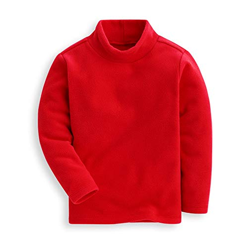(Mud Kingdom Toddler Boys Red Tops Soft Fleece Turtleneck 2T Warm)