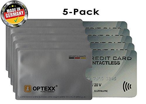 OPTEXX® 5x RFID-Schutzhülle Fritz für Kreditkarte l EC-Karte l Personal-Ausweis Hülle sicheres Blocking von Funk Chips