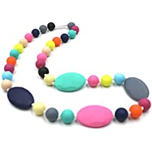 Maberry Baby Silicone Teething Necklace Nursing Chewable Beads Teether for Mom to Wear, also Autism Toys - BPA Free (Rainbow A)