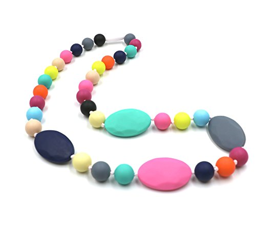 Baby Teething Necklace for Mom to Wear, Maberry Silicone Nursing Chewable Beads Teether Toys - BPA Free (Rainbow A)