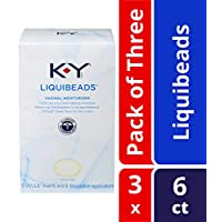 K-Y Liquibeads Vaginal Moisturizer- Bead Inserts With Applicators To Restore Natural Moisture, 6 Count (Pack of 3)