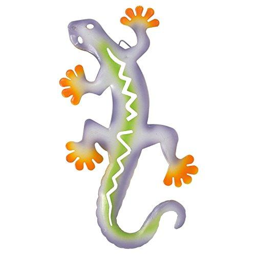 Gift Boutique Salamander Metal Art Sculpture Gecko Garden Wall Decor Set of 4 Decorative Outdoor Backyard Porch Home Patio Lawn Fence Decorations Purple Blue Yellow Green Red Hanging Lizard Statue