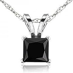 Gold Princess Cut Black Diamond Solitaire Pendant