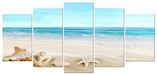 Pyradecor Seashell 5 Panels Seascape Giclee Canvas Prints Landscape Pictures Paintings on Modern Stretched and Framed Canvas Wall Art Sea Beach Pictures Artwork for Home -