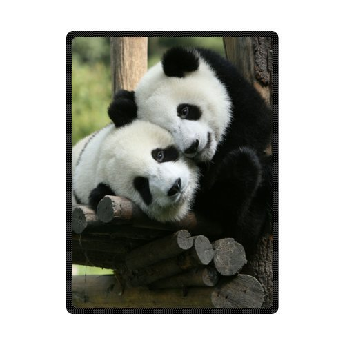 - Custom Cute and Lovely Panda Bed/Sofa Soft Throw Blanket 58x80inch (Large)