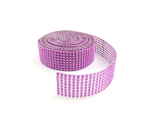 Y&Y Star 10 Yards 30ft 8 Row Purple Diamond Rhinestone Mesh Ribbon Bling Bling Wrap Bulk (8Row Pink purple)