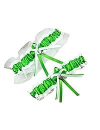 """Size Around 24"""" CGTG228 Apple Green White Wedding Garter"""