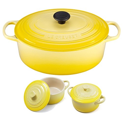 - Le Creuset Signature Soleil Yellow Enameled Cast Iron 6.75 Quart Oval French Oven with 2 Free Stoneware Cocottes