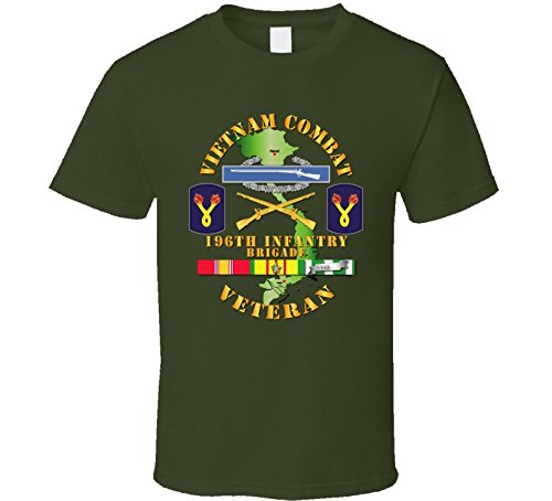 LARGE - Army - Vietnam Combat Infantry Veteran W 196th Inf Bde Ssi V1 T Shirt - Military Green