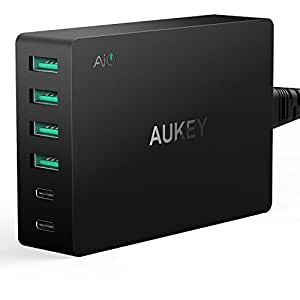 AUKEY Amp USB Charger with 2 USB C & 4 USB Ports for LG G5, HTC 10, Nexus 5X / 6P and More