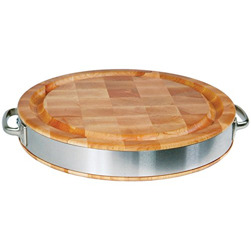 John Boos Block CCB15FR-ST Maple Wood End Grain Reversible Round Butcher Block Cutting Board with Juice Groove, Stainless Steel Band and Handles, 15.5 Inches Round x 2.5 Inches ()