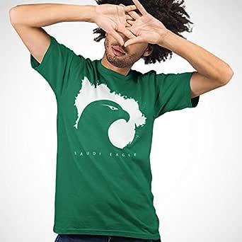 عتيق تيشيرت قطني بتصميم النسر السعودي للرجال، مقاس L، اخضر