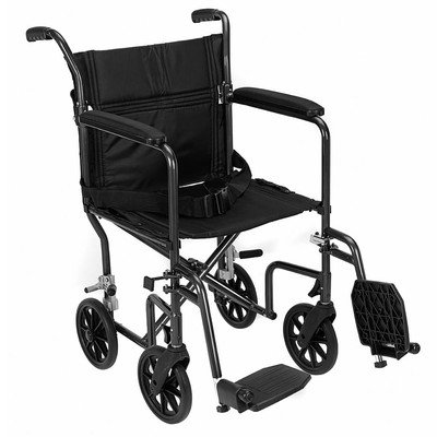 Revolution Mobility Folding Lightweight Aluminum Transport Chair Only 18 Lb Color: Black , Seat Size: 17""