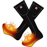 Rabbitroom Unisex Rechargeable Battery Electric Heated Socks Kit, Thick Knitting Thermal Sox Care Chronically Cold Feet, Winter Warm Cotton Crew Socks for Outdoor Hunting Motorcycling