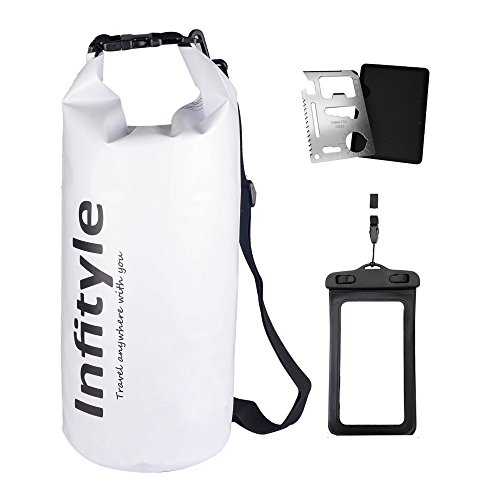 Waterproof Dry Bags - Floating Compression Stuff Sacks Gear Backpacks for Kayaking Camping - Bundled with Phone