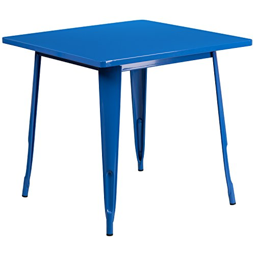 (Flash Furniture 31.5'' Square Blue Metal Indoor-Outdoor Table)