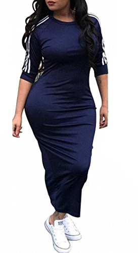 Remelon Womens Casual Striped Half Sleeve Crewneck Tunic Bodycon Long Pencil Midi Dress Navy Blue L