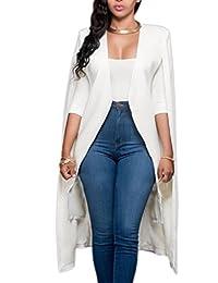Zamtapary Women Trench Open Front Solid Longline Plus Size Cape Jacket Suit Blazer