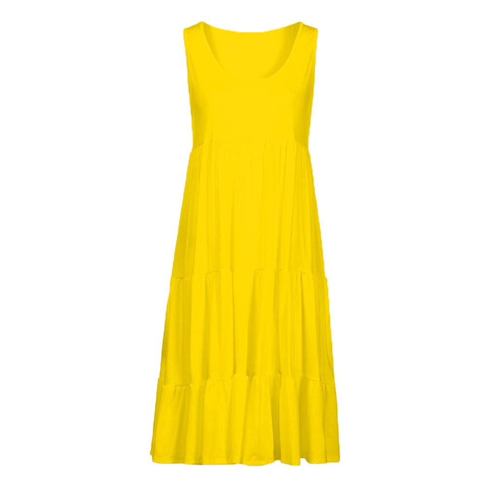 Beach Dress, Women's Vintage Solid Dress Sleeveless Pockets Puffy Swing Casual Summer Party Dress (M, Yellow) by Twinsmall (Image #2)