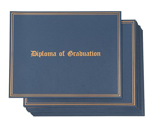 Certificate Holder - 12-Pack Diploma Covers for Graduation Ceremony, Document Holder for Letter-Sized Award Certificates, Blue with Diploma of Graduation Gold Foil Print Designs, 11.2 x 8.7 Inches