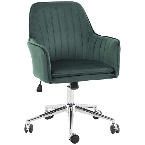 Jacky Home Office Desk Task Velvet Home Computer Chair with Mid-Back Modern Adjustable Swivel Chair with Arms (Green)