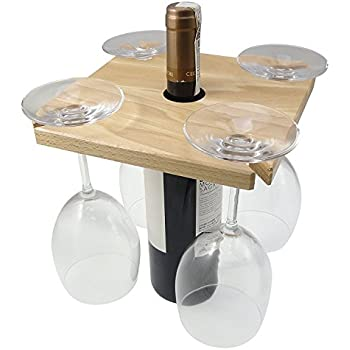 Handmade wooden wine glass bottle holder - Amazon porta vino ...