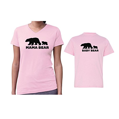 We Match! Mama Bear & Baby Bear Women's V-Neck & Children's Matching T-Shirt Set (Youth Large, Women's Cut 2XL, Pink) (Bear Womens Cut T-shirt)