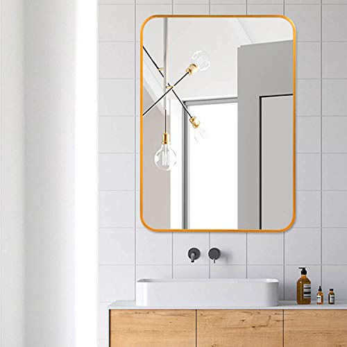 Elevens Brushed Metal Wall Mounted Mirror, Contemporary Round Angle Design Vanity Mirror -