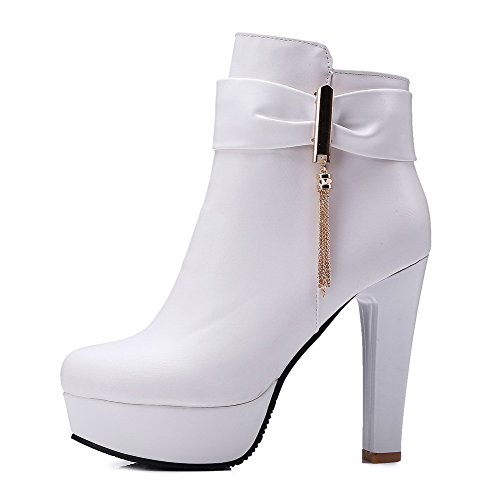 Women's Solid Heels Toe Closed Round Allhqfashion Boots White Soft High Material Zipper 4qfwt4d