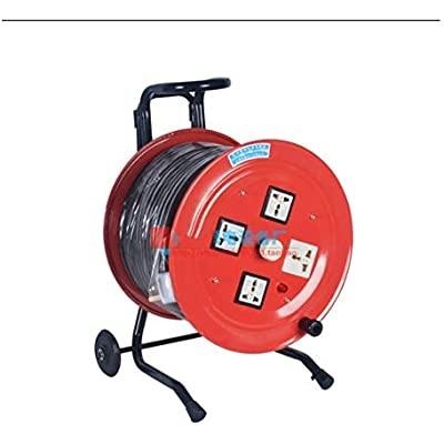 LIFEIYAN Four Socket Open Cable Reel Extension Lead With Winding Handle  Thermal Cut Out And Power Switch  1 5mm   Metres High Visibility Cable 10A 220V extension cord holder