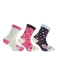 Childrens Girls Cotton Rich Assorted Animal Design Socks (Pack Of 3)
