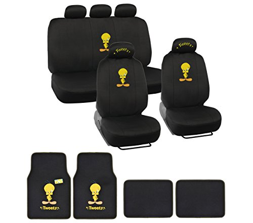 tweety bird full auto interior gift set car seat covers floor mats w 5 head rest vehicles. Black Bedroom Furniture Sets. Home Design Ideas